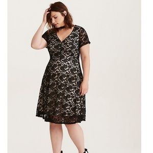 Torrid Black & Nude Lace Dress
